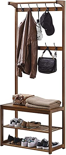SEIRIONE Bamboo Coat Rack, Shoe Bench, Hall Tree with Storage Shelf for Entryway, 3-In-1 Design, 10 Hooks, Easy Assembly