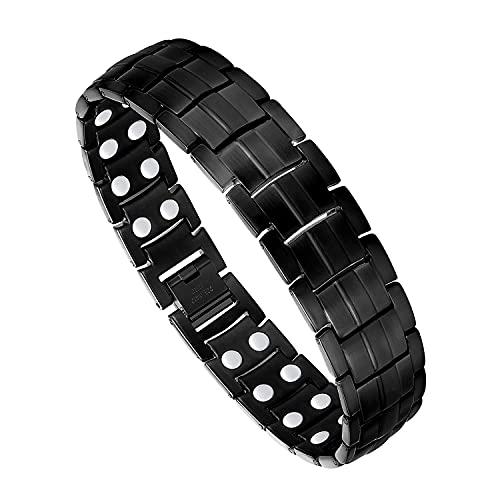 Feraco Magnetic Bracelets for Men Pain Relief Titanium Steel Double Row Strong Magnets Bracelet with Unique Black Line, Adjustable Bracelet
