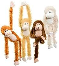 Fuzzy Friends 1 Each Burnt Orange, Blonde, Cream and Dark Brown Fuzzy Friends Plush Monkey with Velcro Hands Furry Stuffed Animal, Set of 4