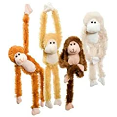 These adorable monkeys will win your heart A piece of Velcro on their hands allow these creatures be hung from just about anywhere Each monkey measures approximately 13-1/2""