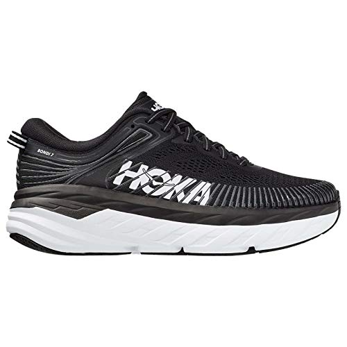HOKA ONE ONE Women's Bondi 7 Running Shoe, Black/White, 8