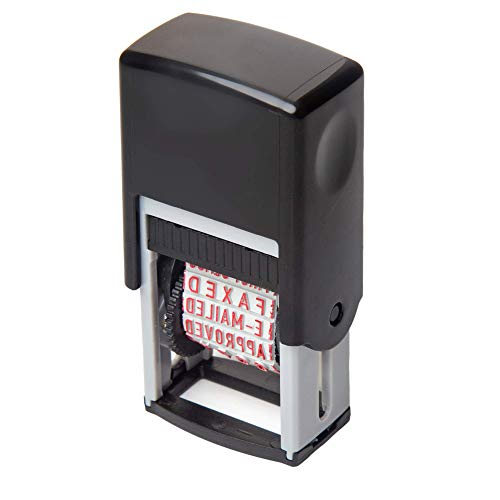 Self Inking Rubber Stamp with 12 Messages: Cancelled, Approved, Original, Draft, Copy, FAXED, E-MAILED, Urgent, Confirmation, Confidential, First Class, Entered