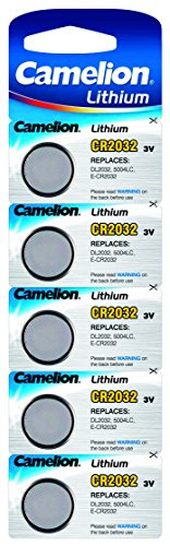 Cr2032 Button Cell Batteries, Cr2032 Coin Cell Battery, Lithium Button Battery, Dl2032, 5004lc & E-cr2032. 3v 5pcs Per Pack (Cr2032-bp5) by Camelion