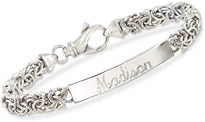 Ross Simons Italian Sterling Silver Byzantine Name Bar Id Bracelet 7 inches product image