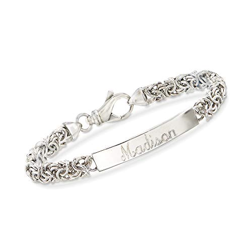 Ross-Simons Italian Sterling Silver Byzantine Name Bar Id Bracelet. 8 inches