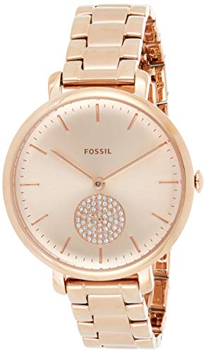 Fossil Women's Jacqueline Quartz Stainless-Steel-Plated Strap, Rose Gold, 14 Casual Watch (Model: ES4438)
