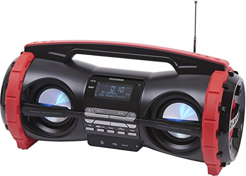 Telefunken RD2000B Boombox mit Digitalradio und Bluetooth-Lautsprecher (DAB+, UKW, MP3 USB Adapter, SD Kartenleser, AUX-In)
