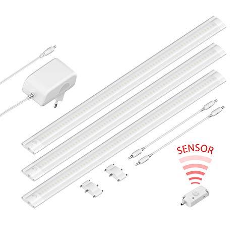 Preisvergleich Produktbild ledscom.de LED Unterbau-Leuchte SIRIS weiß matt mit Bewegungsmelder,  flach,  je 50cm,  420lm,  warm-weiß,  3er Set