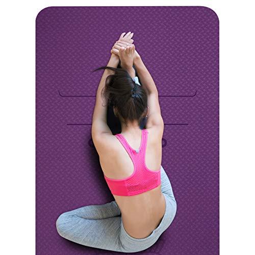SKL rutschfeste Yogamatte, Pilates Matte mit Ausrichtungslinien, Schadstofffrei TPE Yogamatte, 0,6cm Dicke Fitness Trainingsmatte für Bodentraining, Fitness, Hot Yoga (183 x 61 x 0,6cm)