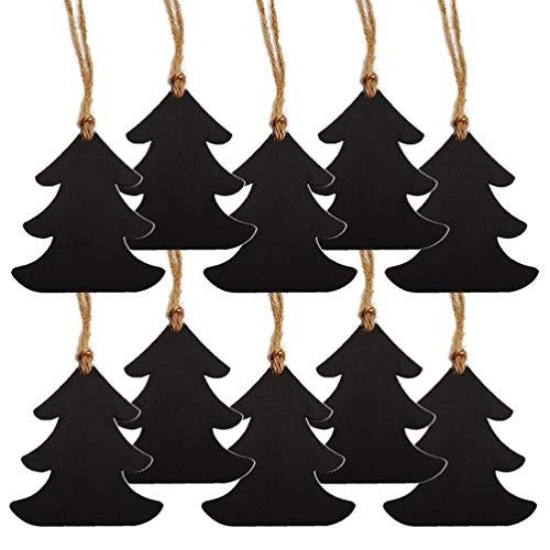Amosfun 10pcs décoration de noël Suspendu Mini Tableau en Bois Signe étiquettes de Cadeau de noël Double Face bénédiction Signe étiquettes