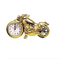TOYANDONA 目覚まし時計プラスチック製のバイクの形の装飾品バッテリーなしの寝室のリビングルーム用のレトロなデスクトップ時計(金色)