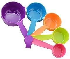 Bo Time Lot de 5 Tasses/ Cuillères de Mesure Multicolores pour Cuisine et P Tisserie