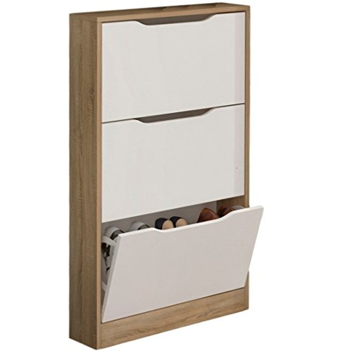 Studio Decor Champion Zapatero, Madera, Cambria y Blanco, 108x60x17 cm