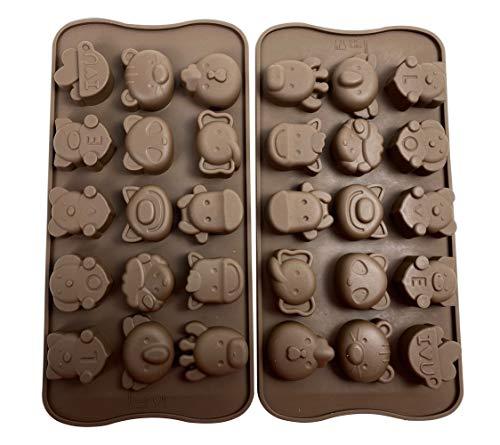 Lot de 2 moules à bonbons, chocolat, savon, moules à pâtisserie en silicone – Thème de la forêt, ours, lion, mouton, vache, panda, jouets pour enfants