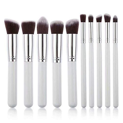 Pinceaux de Maquillage Set de 12 Pièces Premium Coloré Fondation Mélange Blush Yeux Visage Poudre Brosse Cosmétiques Makeup Brushes Complet Soyeux Fibres Synthétiques Souples (Blanc + Argent 10pcs)