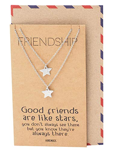 Quan Jewelry Star Pendants Matching Friendship Necklace for 2, Gifts for Her with Greeting Card