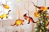Lichterkette Kinderzimmer Junge mit Timer – 3 Meter LED Batterie Nachtlicht Dino Deko Kindergeburtstag, Dino Figuren Lampe, kleine Dinosaurier Figur Set - Party Licht Vorhang Dinos batteriebetrieben