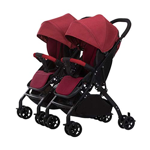 YL Twin Kinderwagen, Hoch Landschaft Kinderwagen, Travel System, Sportkinderwagen Adjustable, Klappwagen, Sicher Und Bequem, Abnehmbares Licht (Color : Red2)