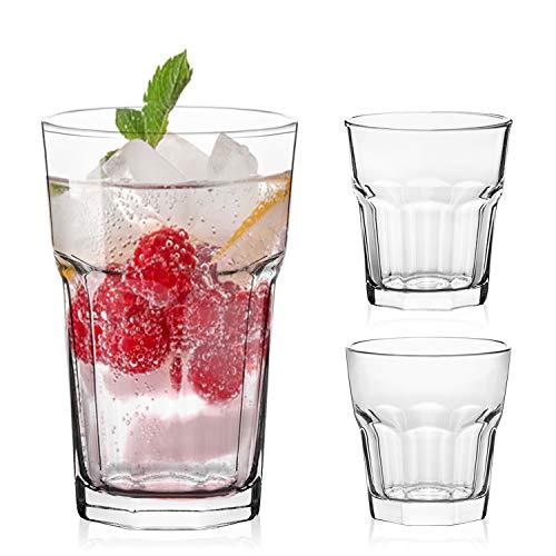 Lav Lot de 18 verres 3 tailles différentes 350 ml 280 ml 100 ml Idéal pour les boissons froides, les liqueurs et les cocktails