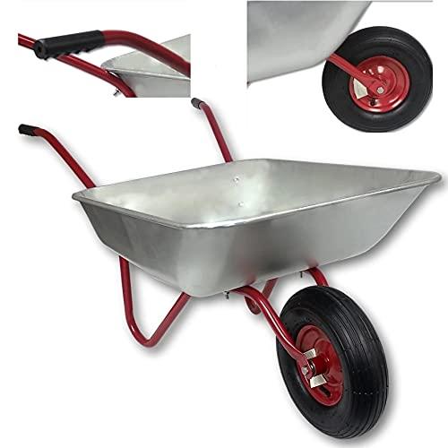 Schubkarre 120L Bauschubkarre Schiebkarre bis 150kg Gartenkarre verzinkt Luftrad Metallfelge Arbeitskarre