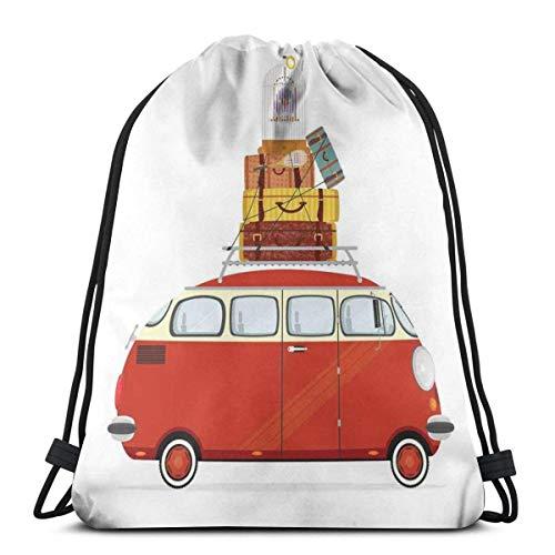 Bolsa de viaje con cordón, estilo retro, con maletas y jaula de pájaros, para viajes, vacaciones, para mujeres, hombres, niños, etc