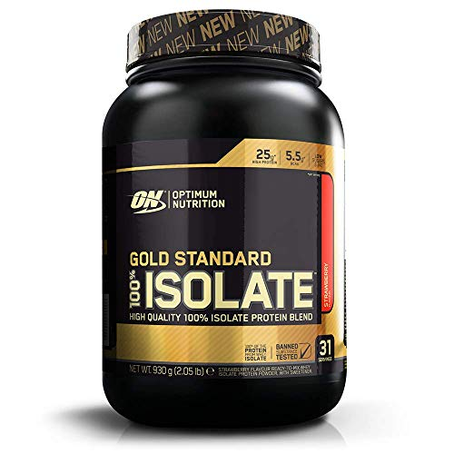 Optimum Nutrition ON Gold Standard 100% Isolate Whey Protein, High Protein Powder with Naturally Occurring BCAAs and Glutamine for Muscle Growth and Support, Strawberry, 31 Servings, 930 g