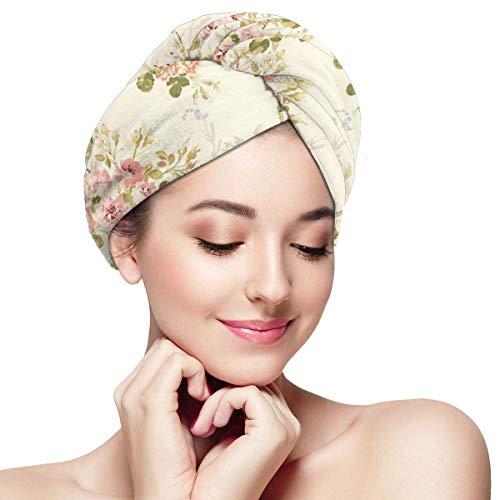 Florasun Bonnet de cheveux secs avec imprimé princ et fleurs en microfibre, ultra absorbant, séchage rapide, torsion des cheveux turban avec pour femme