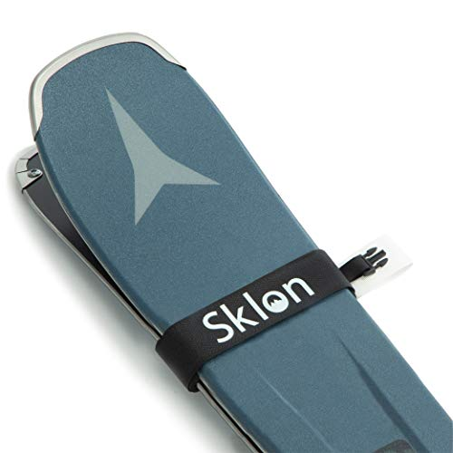 Sklon Ski Strap Fasteners - Rubber 2 Pack Carrier - Securely Transport Your Skis - Comes with Snap Clips for Easy Storage - Ski Accessories Great for Carrying Ski Gear - Men, Women and Kids