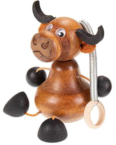Reine Natur Vaca saltadora de madera, figura oscilante