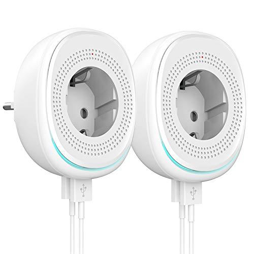 MoKo WiFi Enchufe Inteligente con 2 Puerto USB y Luz LED,Smart Plug del Zócalo del Interruptor Funciona con Alexa Echo SmartThings Google Home, App Control Remoto y Función de Temporizador -2 Pack