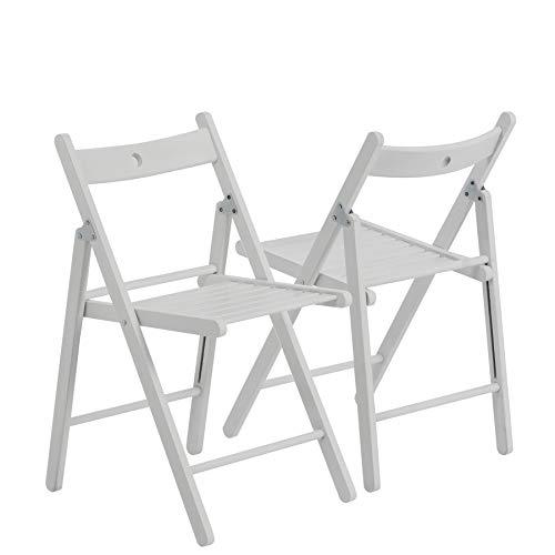 Silla plegable - Madera - Blanco - Pack de 2