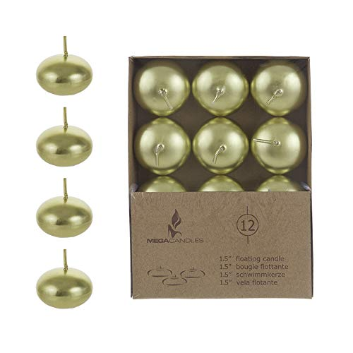 """Mega Candles 24 pcs Unscented Gold Floating Disc Candle 