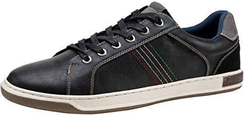 JOUSEN Men's Casual Shoes Retro Fashion Sneakers Business Casual Sneaker (10,Black)