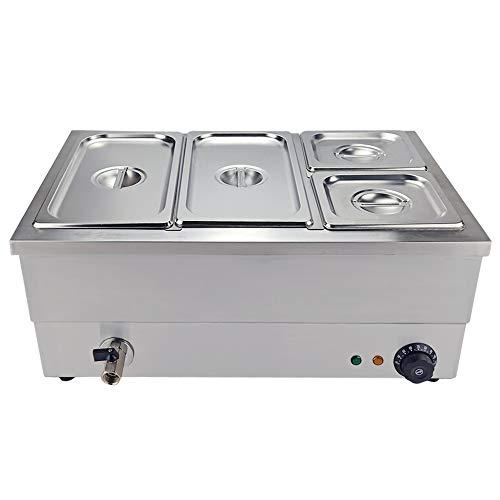 TAIMIKO - Bagno Elettrico a 4 vasche in Acciaio Inossidabile, Controllo della Temperatura con Rubinetto di Scarico 1500 W, 220-240 V, Certificazione CE, TC-3B-4