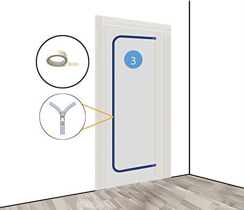Staubschutztür (Vlies) inkl. doppelseitigem Klebeband und mit Reißverschluss, Staubschutz, Bautür, 1,10 x 2,20 m u.a. für Renovierungen & Umbauten, aus staubdichtem Polypropylen-Vlies (PP)