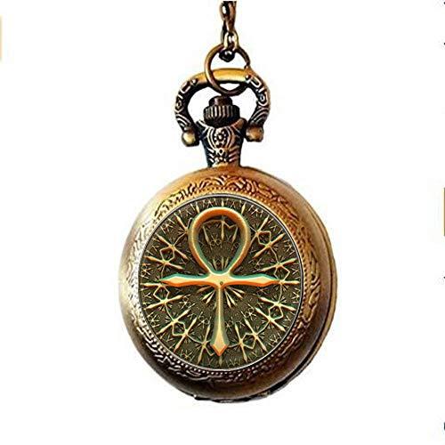 Collier montre de poche avec croix égyptienne Ankh – Bijou égyptien ancien