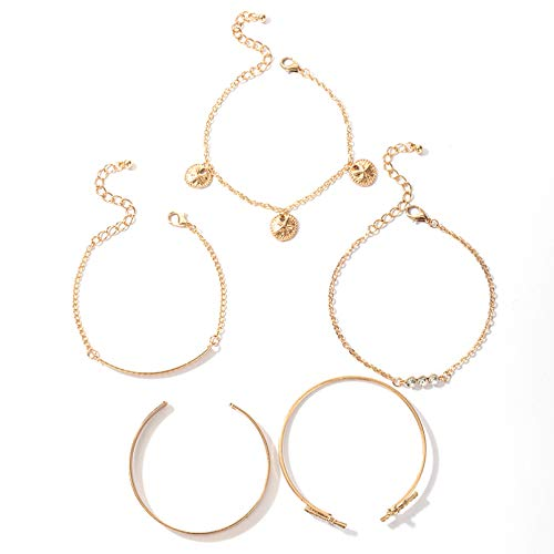 KUANGLANG 5Pcs/Sets Bohemian Corss Gold Bracelets Women Shiny Crystal Stone Tassel Open Bangle Trendy Jewelry Gift