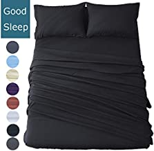 Shilucheng Bed Sheets Set Microfiber 1800 Thread Count Percale Super Soft and Comforterble 16 Inch Deep Pockets Wrinkle Fade and Hypoallergenic - 4 Piece (California King, Black)