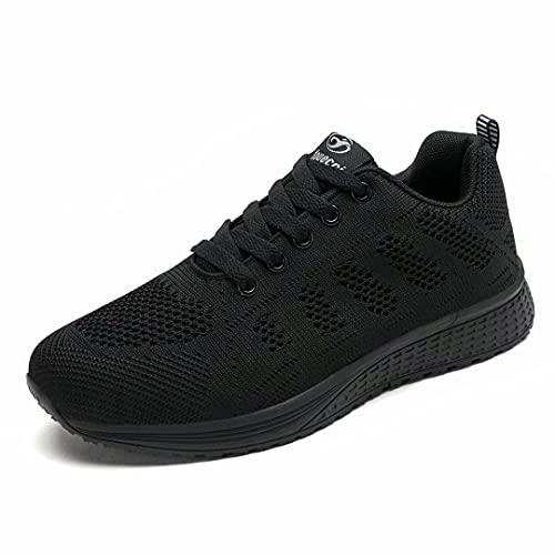 Hoylson Zapatillas de Deportivos para Mujer Running Zapatos Asfalto Ligeras Calzado Aire Libre Sneakers(Negro Completo, EU 42)