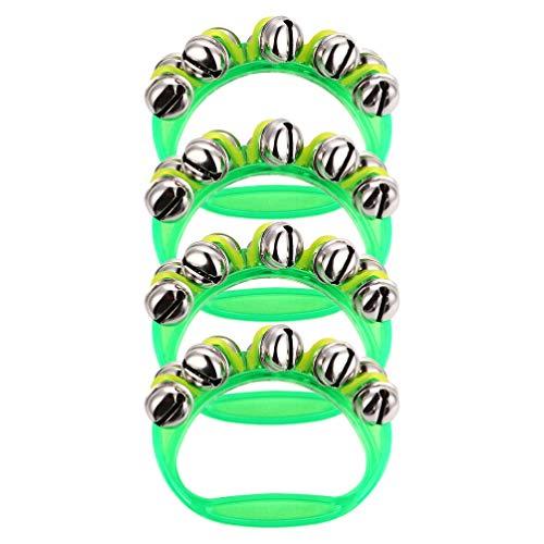 Kisangel 4 Piezas de Mango Verde Campanas de Plástico Sonajero Juguetes para Bebés Y Niños Juguetes de Percusión Musical para Bebés Recién Nacidos 10. 5X8. 5CM