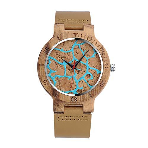 Unendlich U-Moda Reloj de Madera de Bambú para Mujer y Hombre Reloj de Cuarzo con la Correa de Cuero Genuino Idea Regalo Navidad Pareja