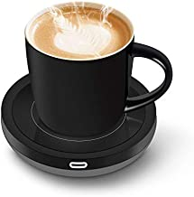 BESTINNKITS Smart Coffee Set Auto On/Off Gravity-Induction Mug Office Desk Use, Candle Wax Cup Warmer Heating Plate (Up to 131F/55C), 2 Piece
