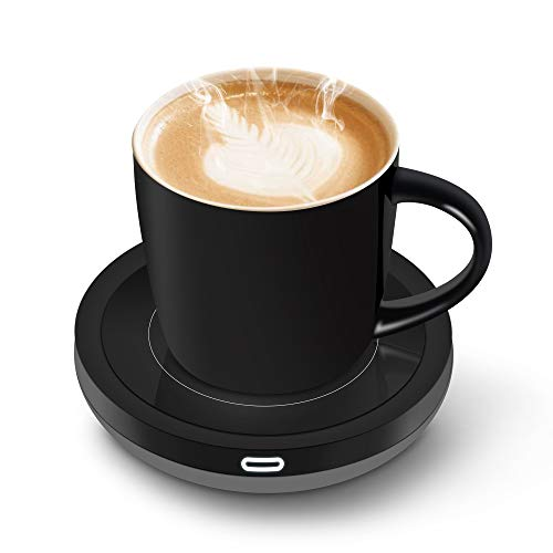BESTINNKITS 01002 Smart Coffee Set Auto On/Off Gravity-induction Mug Office Desk Use, Candle Wax Cup Warmer Heating Plate (Up To 131F/55C), 16oz
