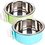 PINVNBY - Cuenco para perros extraíble para colgar en jaula de mascotas, alimentador de agua con acero inoxidable para gatos, cachorros, pájaros, ratas, conejillos de indias, 2 unidades