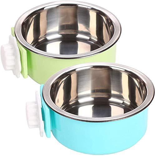 PINVNBY Hunde-/Futternapf, abnehmbar, zum Aufhängen, Edelstahl, Futternapf, für Katzen, Welpen, Vögel, Ratten, Meerschweinchen, 2 Stück