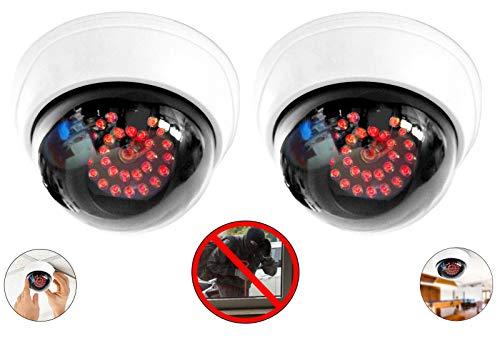 2X professionelle Domkameras Dummy mit 25 Led IR Stahler Kamera Attrappe mit Objektiv Videoüberwachung Warensicherung