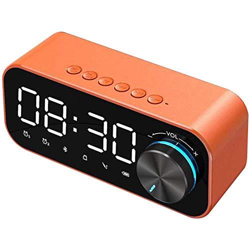 JIEOR Despertador digital LED, altavoz inalámbrico portátil, despertador eléctrico con radio FM,...