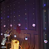 Obrecis Wishing Ball Curtain Twinkle Starry Light 8 Modes USB Remote, Led Window Curtain String Light for Wedding Party, Halloween, Christmas Decorations (Four Color)