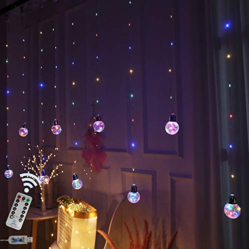 Wishing Ball Curtain Twinkle Starry Light 8 Modes USB Remote, Led Window Curtain String Light for Wedding Party, Halloween, Christmas Decorations (Four Color)