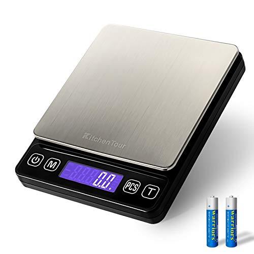 KitchenTour balanza de cocina digital - 3000 g / 0,1 g de alta precisión La exactitud Escala Carne Alimentos multifunción con Retroiluminados Pantalla LCD (pilas incluidas)